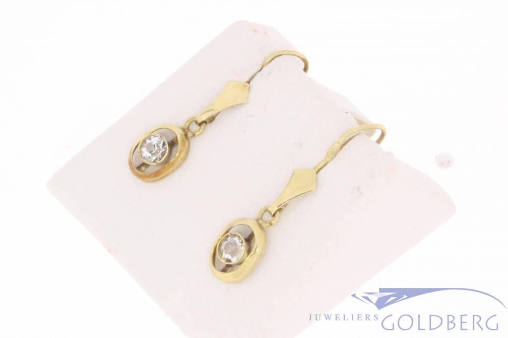 Antieke 14 carat gold earrings with quartz 1906-1953