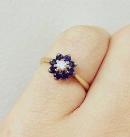Antieke 18k gouden ring met ca. 0.10 ct briljant en blauwe saffier