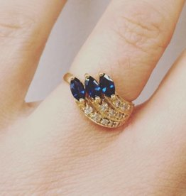 Vintage 18 carat gold ring with sapphires and diamonds (Paris)