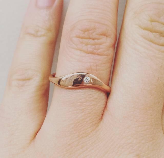 14k rose gouden ring met 0.02ct briljant