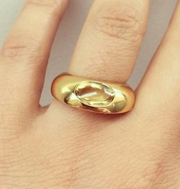 Vintage 18k gold Georg Jensen ring with citrine