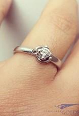 Vintage 18k witgouden ring met 0.22ct briljant