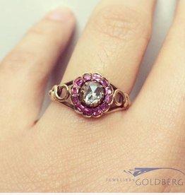 Vintage 14k gouden ring met roos geslepen diamant en amethist