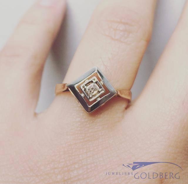Antieke 14k bicolor gouden ring met diamant