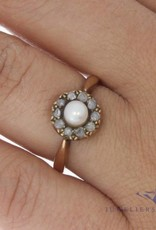 Antique 14 carat gold ring with pearl and ca. 0.20ct rose cut diamond