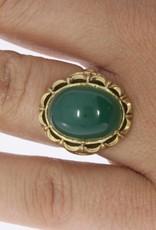 Antieke 14k gouden ring met chrysopraas 1906-1953