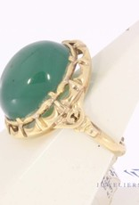 Antique 14 carat gold ring with chrysoprase 1906-1953
