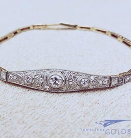 Antique 18 carat bicolor gold Art Deco bracelet with ca. 0.47ct diamond