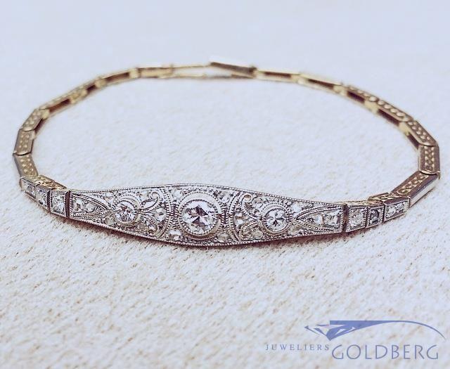 Antique 18 carat bicolor gold Art Deco bracelet with ca. 0.47ct diamond