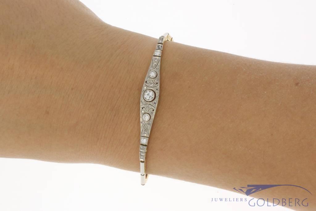 Antieke 18k bicolor gouden Art Deco armband met ca. 0.47ct diamant