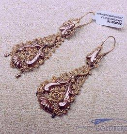Antieke 14k gouden filigrain oorhangers 1873-1913
