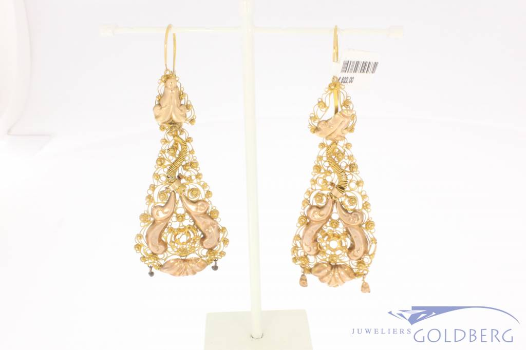 Antique 14 carat gold filigree earrings 1873-1913