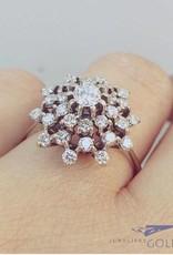 Vintage 18k witgouden rozet ring met ca. 1.0ct diamant