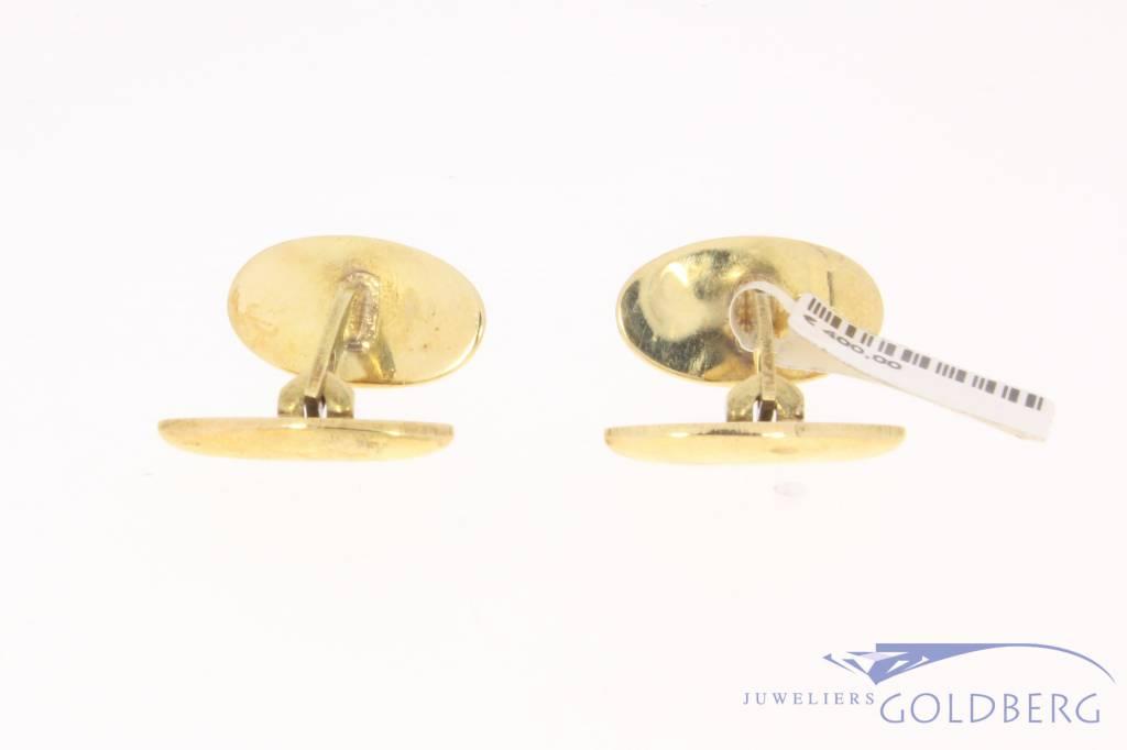 Vintage 14 carat gold striped cufflinks