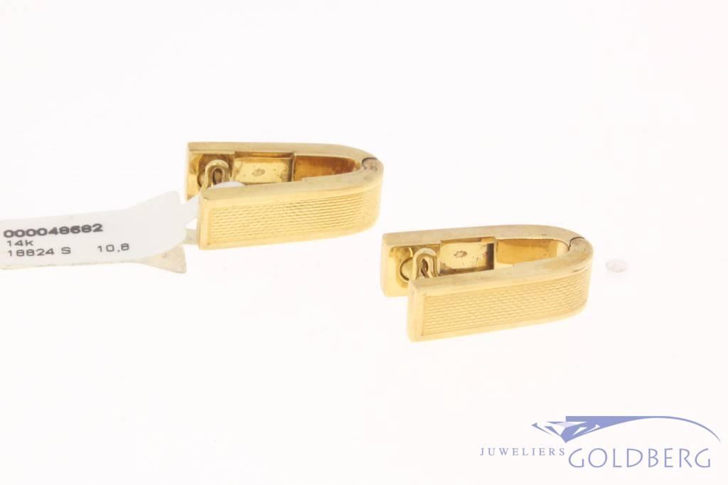 Bijzonder gevormde vintage 14k gouden manchetknopen
