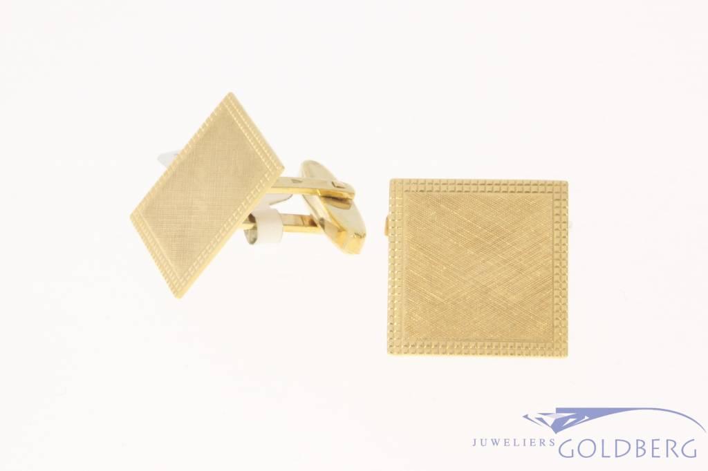 Vintage 14k gouden deels gematteerde vierkante manchetknopen