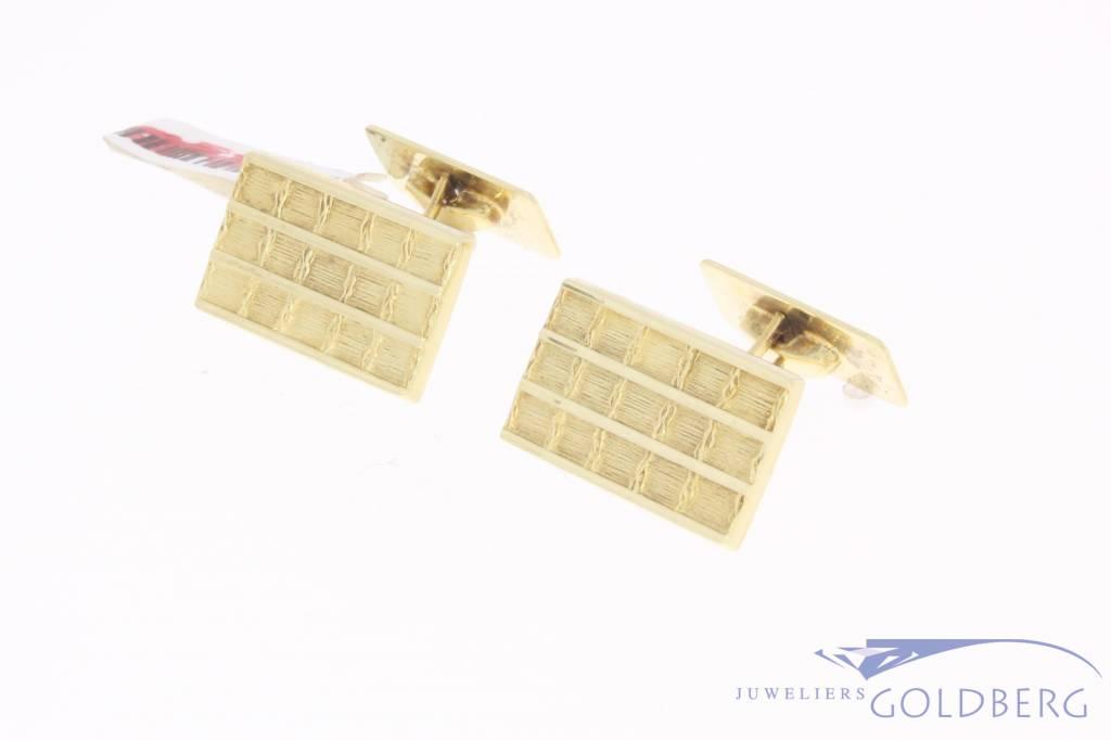 Vintage 14 carat gold edited rectangular cufflinks