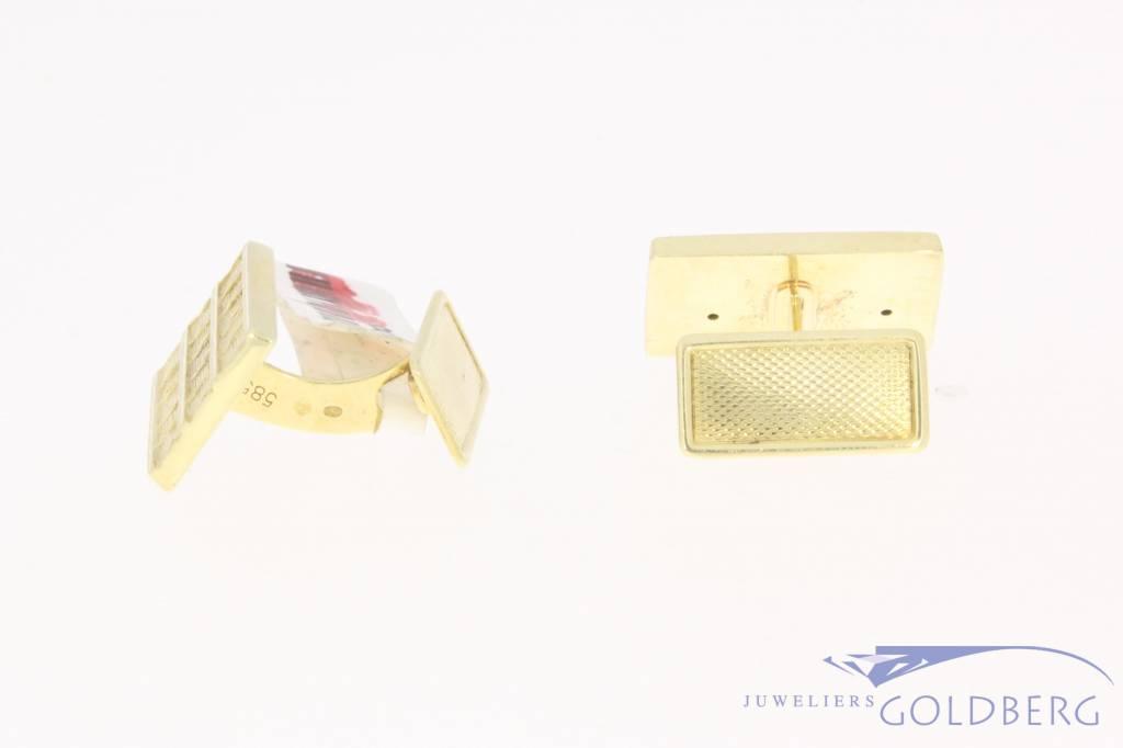 Vintage 14k gouden bewerkte rechthoekige manchetknopen