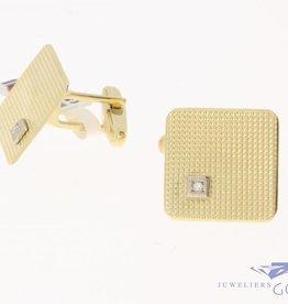 Vintage 14 carat gold cufflinks with diamond