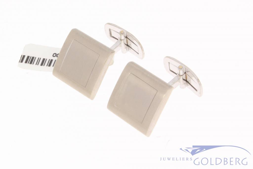 Solid vintage 18 carat white gold matted cufflinks