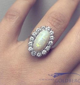 Vintage 18k white gold ring with white opal and diamonds