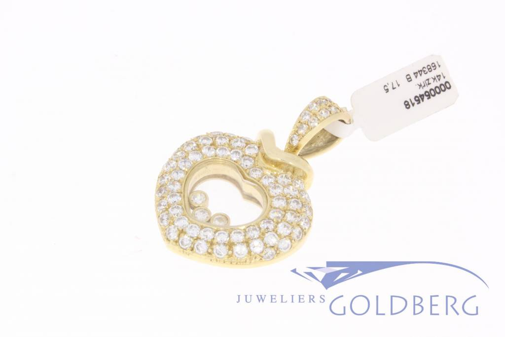Large 14k gold heart with zirconia's