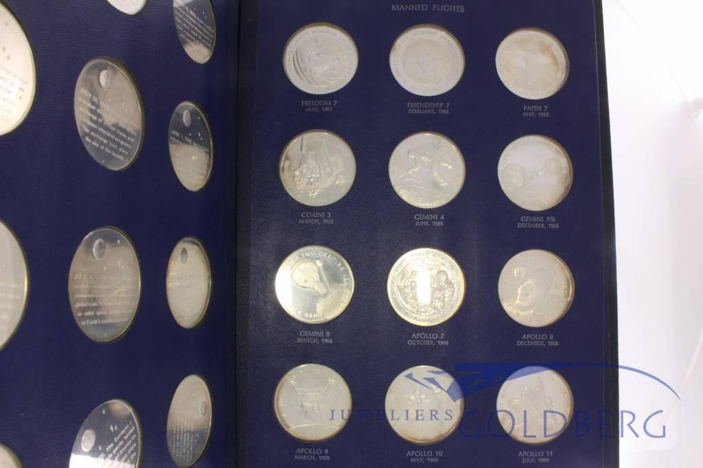 America in Space Franklin Mint 36 delige set zilveren penningen 1970