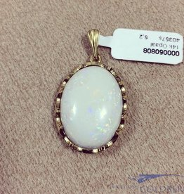 Vintage 14k gouden hanger met grote opaal