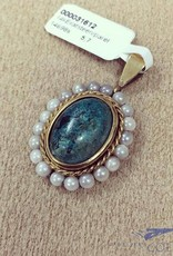 Vintage 14 carat gold pendant with Eilat stone and pearl