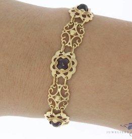 Vintage 14k gouden armband met granaat