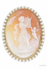 Large vintage 14 carat gold cameo brooch/pendant with pearl