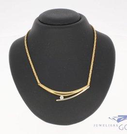 Vintage 14 carat bicolor gold choker necklace with ca. 0.08 brilliant cut diamond