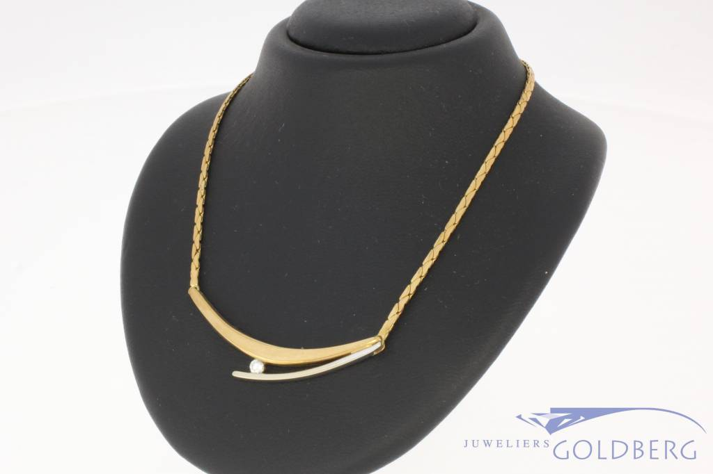 Vintage 14 carat bicolor gold choker necklace with ca. 0.08 brilliant cut diamond