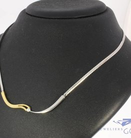 Vintage 14 carat bicolor gold choker necklace with ca. 0.05ct brilliant cut diamond