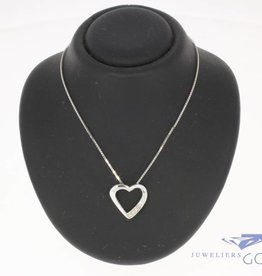 Vintage 14k witgouden collier en hart hanger met ca. 0.02 ct diamant