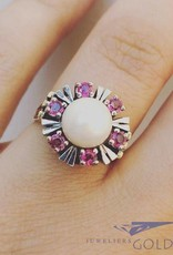 Vintage 14 carat bicolor gold ring with pearl and synthetic ruby