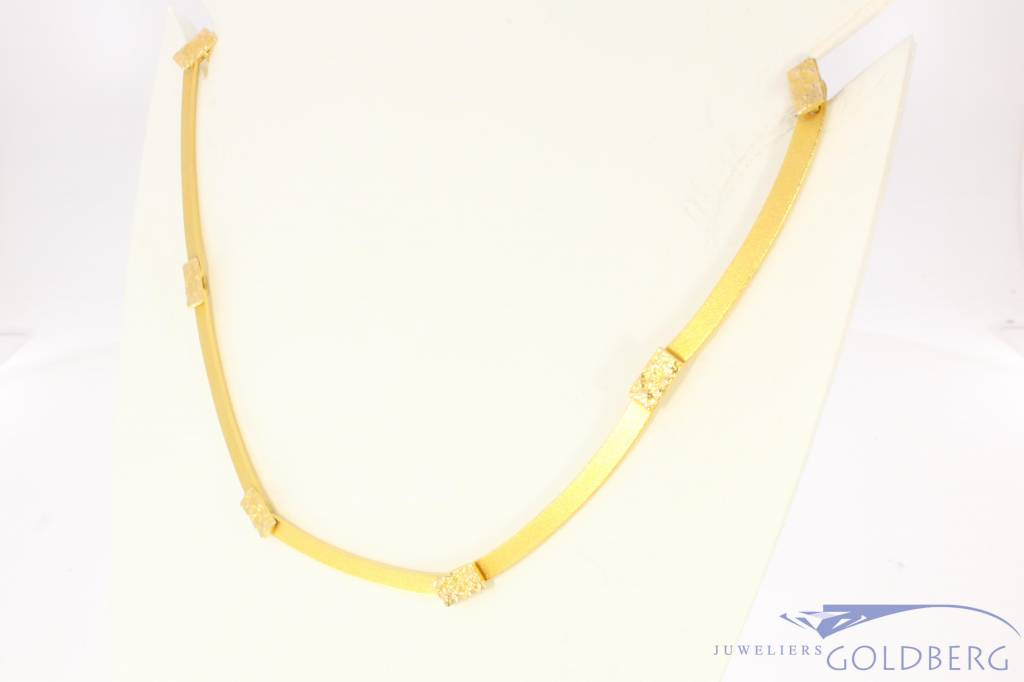 Vintage 14 carat gold matted Lapponia necklace