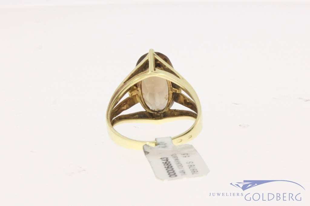Vintage 14 carat gold ring with smoky quartz