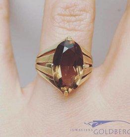 Vintage 14k gouden ring met rookkwarts