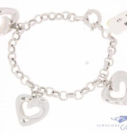 Vintage 14 carat white gold jasseron bracelet with hearts
