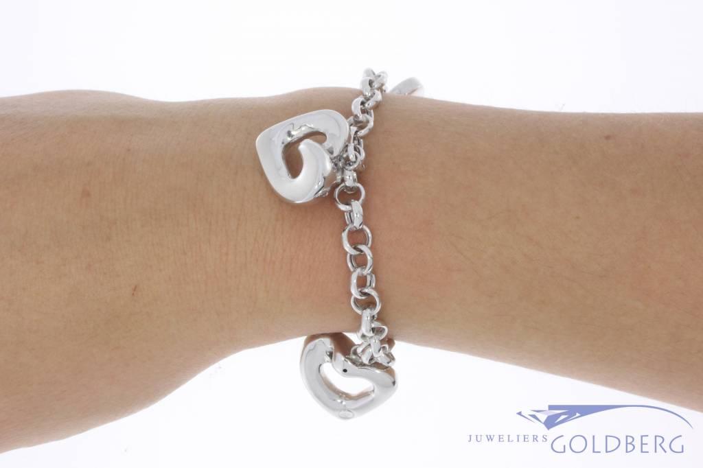 Vintage 14 carat white gold jasseron bracelet with hearts