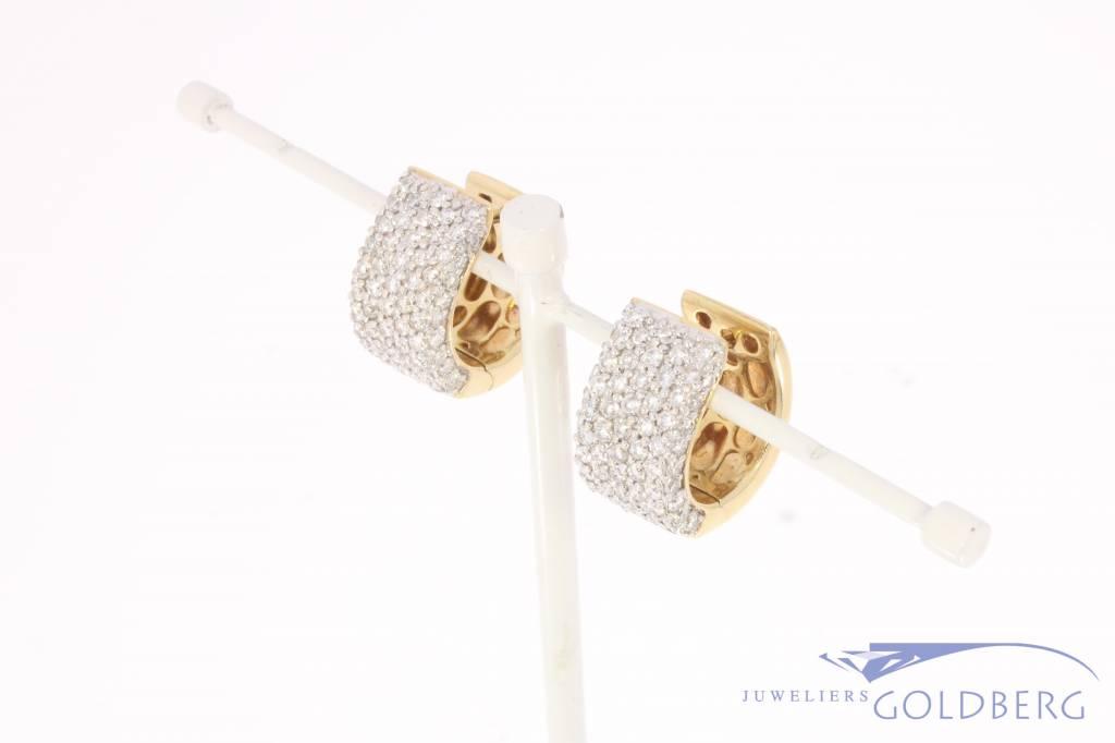 14k geelgouden creolen met ca. 1.32ct briljant geslepen diamant