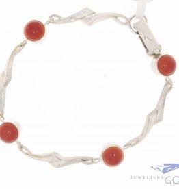 Vintage silver bracelet with carnelian