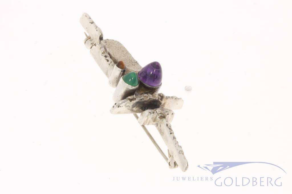 Vintage silver brooch with amethyst, chrysoprase and tiger's eye