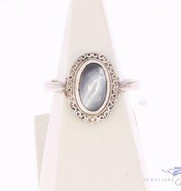 Vintage zilveren ring met kattenoog