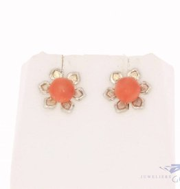 Vintage silver earstuds with red coral