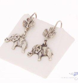 Vintage silver earrings bird & elephant