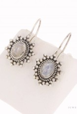 Vintage silver earrings with moonstone