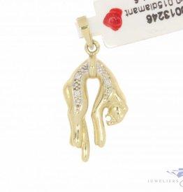 Vintage 18k gouden hangende panter hanger met ca. 0.015ct diamant