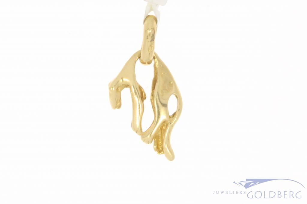Vintage 18 carat gold hanging panther pendant